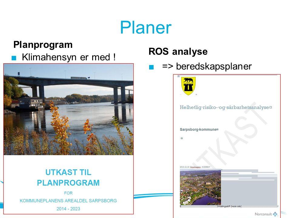 Planer Planprogram ■ Klimahensyn er med ! ROS analyse ■ => beredskapsplaner