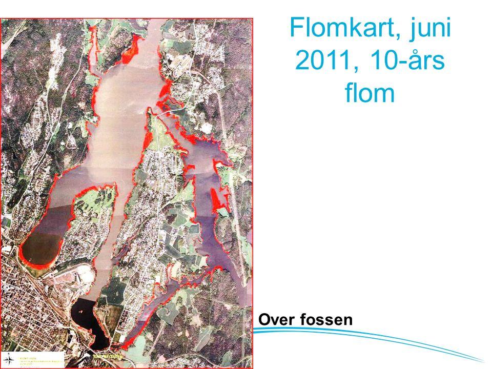 Flomkart, juni 2011, 10-års flom Nedenfor fossen