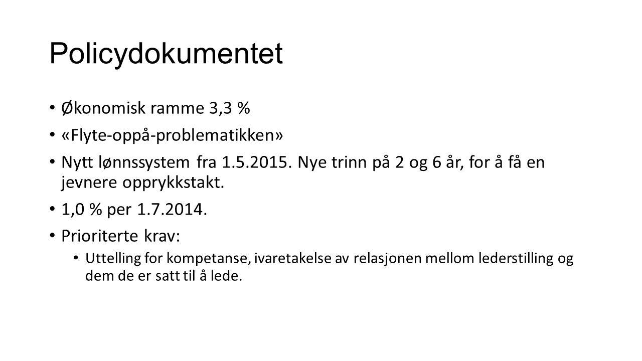 Policydokumentet Økonomisk ramme 3,3 % «Flyte-oppå-problematikken» Nytt lønnssystem fra 1.5.2015.