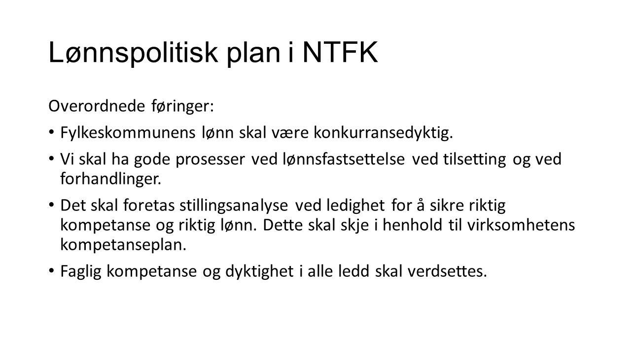 Lønnspolitisk plan i NTFK Overordnede føringer: Fylkeskommunens lønn skal være konkurransedyktig.