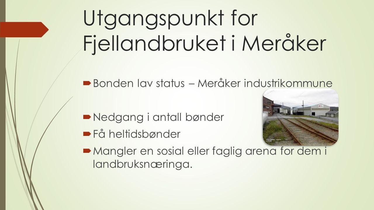 Utgangspunkt for Fjellandbruket i Meråker  Bonden lav status – Meråker industrikommune  Nedgang i antall bønder  Få heltidsbønder  Mangler en sosial eller faglig arena for dem i landbruksnæringa.