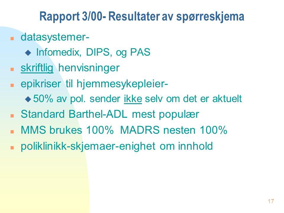 17 Rapport 3/00- Resultater av spørreskjema n datasystemer- u Infomedix, DIPS, og PAS n skriftlig henvisninger n epikriser til hjemmesykepleier- u 50% av pol.