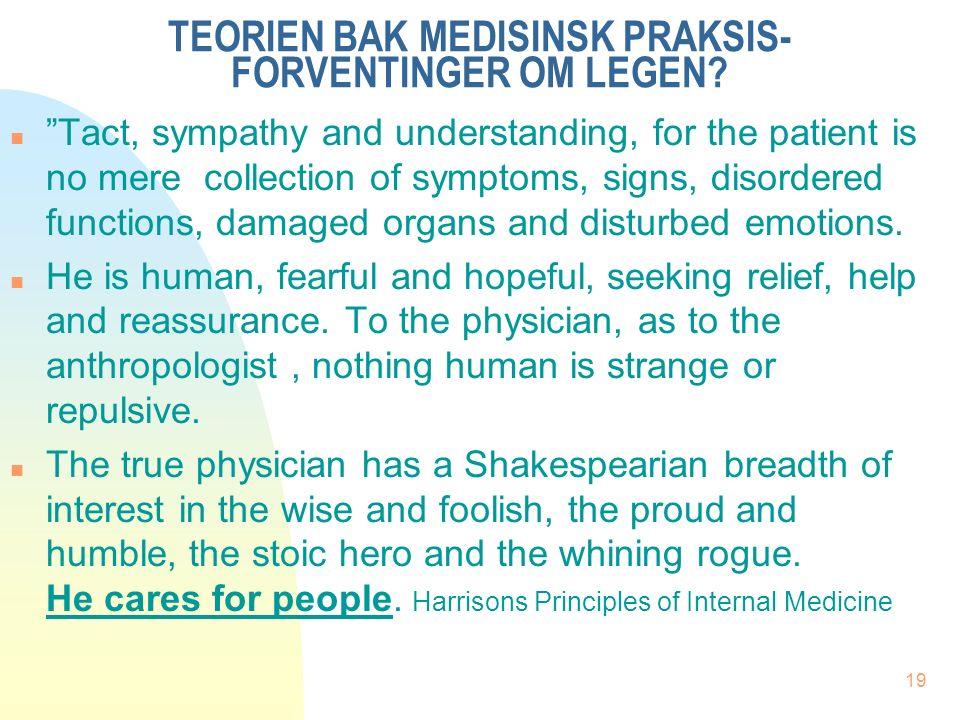 19 TEORIEN BAK MEDISINSK PRAKSIS- FORVENTINGER OM LEGEN.