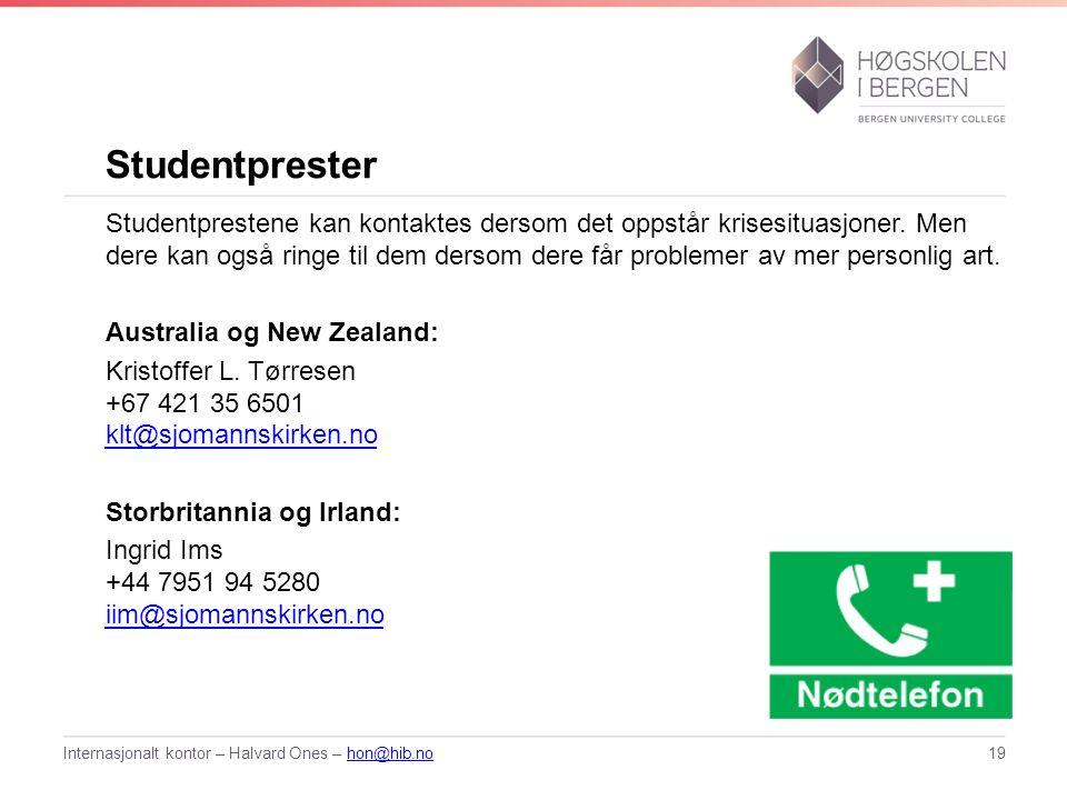Studentprester Studentprestene kan kontaktes dersom det oppstår krisesituasjoner.