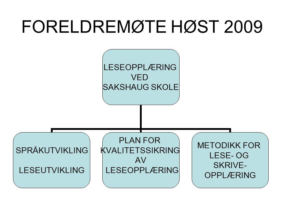 FORELDREMØTE HØST 2009 LESEOPPLÆRING VED SAKSHAUG SKOLE SPRÅKUTVIKLING LESEUTVIKLING PLAN FOR KVALITETSSIKRING AV LESEOPPLÆRING METODIKK FOR LESE- OG SKRIVE- OPPLÆRING