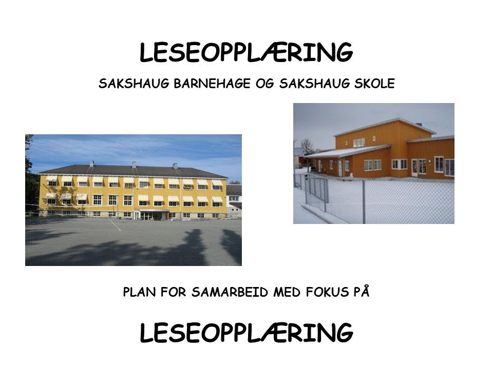 LESEOPPLÆRING SAKSHAUG BARNEHAGE OG SAKSHAUG SKOLE PLAN FOR SAMARBEID MED FOKUS PÅ LESEOPPLÆRING