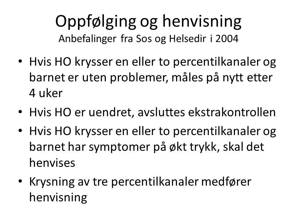 Oppfølging og henvisning Anbefalinger fra Sos og Helsedir i 2004 Hvis HO krysser en eller to percentilkanaler og barnet er uten problemer, måles på ny