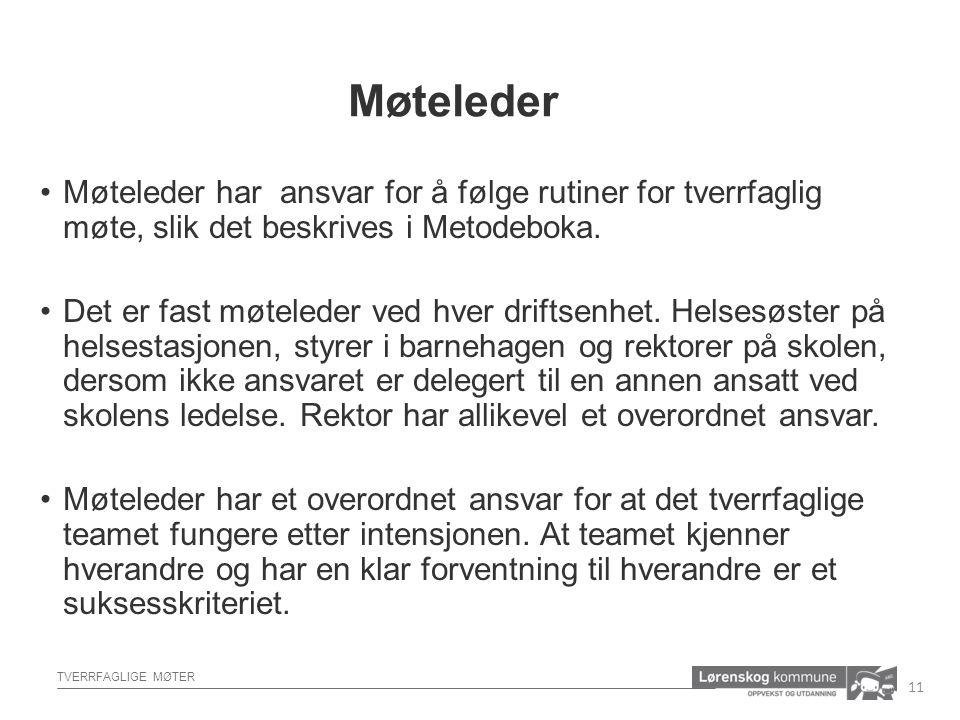 TVERRFAGLIGE MØTER Møteleder har ansvar for å følge rutiner for tverrfaglig møte, slik det beskrives i Metodeboka.