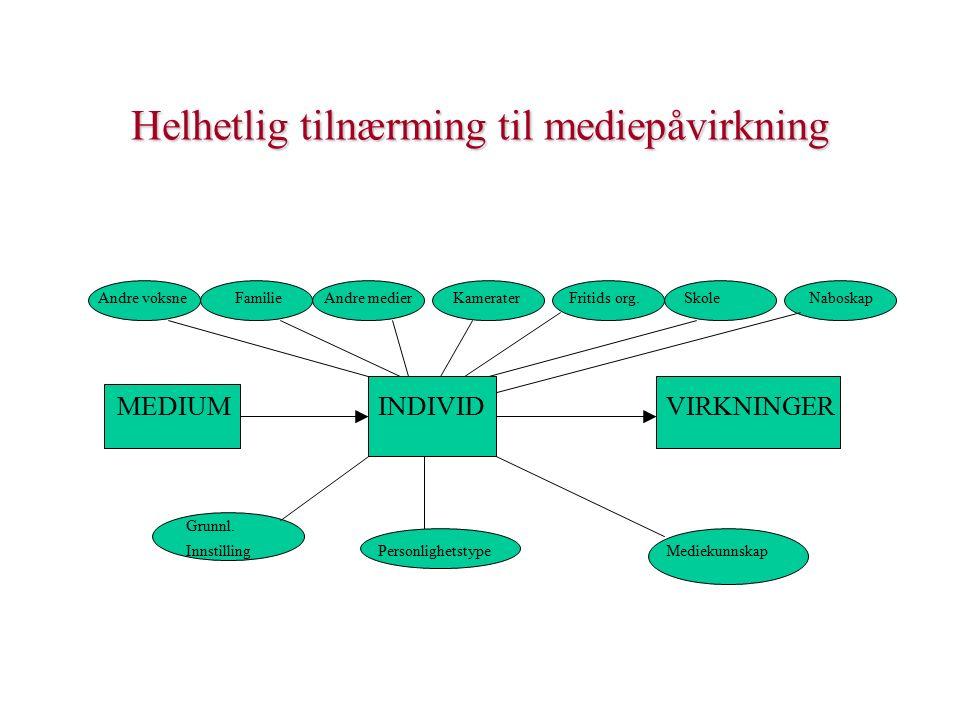 Helhetlig tilnærming til mediepåvirkning Andre voksne Familie Andre medier Kamerater Fritids org.