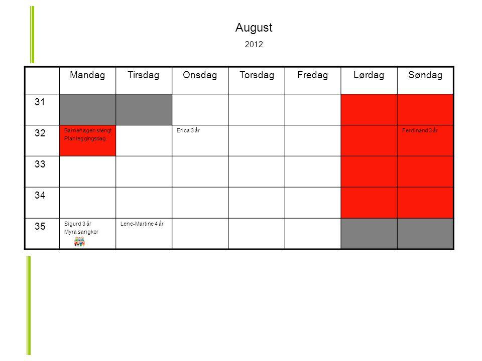 MandagTirsdagOnsdagTorsdagFredagLørdagSøndag 31 32 Barnehagen stengt Planleggingsdag.