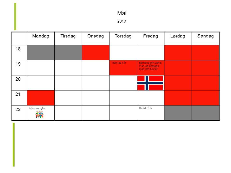 MandagTirsdagOnsdagTorsdagFredagLørdagSøndag 18 19 Mathias 4 årBarnehagen stengt.