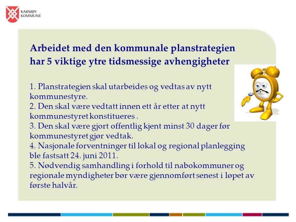 Arbeidet med den kommunale planstrategien har 5 viktige ytre tidsmessige avhengigheter 1.
