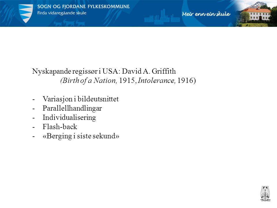 Nyskapande regissør i USA: David A. Griffith (Birth of a Nation, 1915, Intolerance, 1916) -Variasjon i bildeutsnittet -Parallellhandlingar -Individual