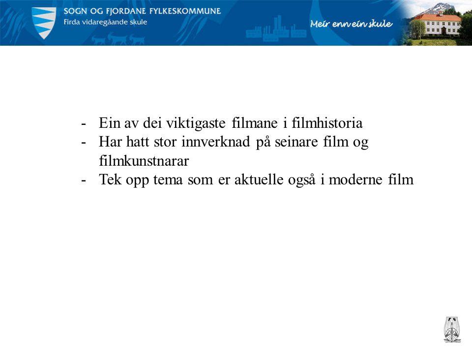Tyskland: Ekspresjonisme -Trenge inn i menneskesinnet -Oppheve grensene mellom fantasi og røyndom -Skildre det subjektive og irrasjonelle -Stiliserte og symbolske kulissar -Halvlys og skuggar -Overdriven spelestil (melodramatisk) – ikkje innleving i rolla -Scenerommet er like viktig som handlinga -Eksess = visuell overflod -Mange filmar med skrekkinnslag -Det splitta mennesket, vekt på det mystiske og det undermedvitne