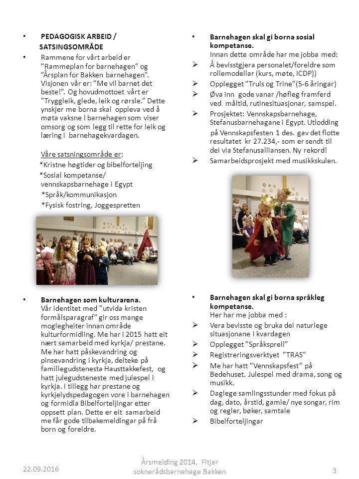 PEDAGOGISK ARBEID / SATSINGSOMRÅDE Rammene for vårt arbeid er Rammeplan for barnehagen og Årsplan for Bakken barnehagen .