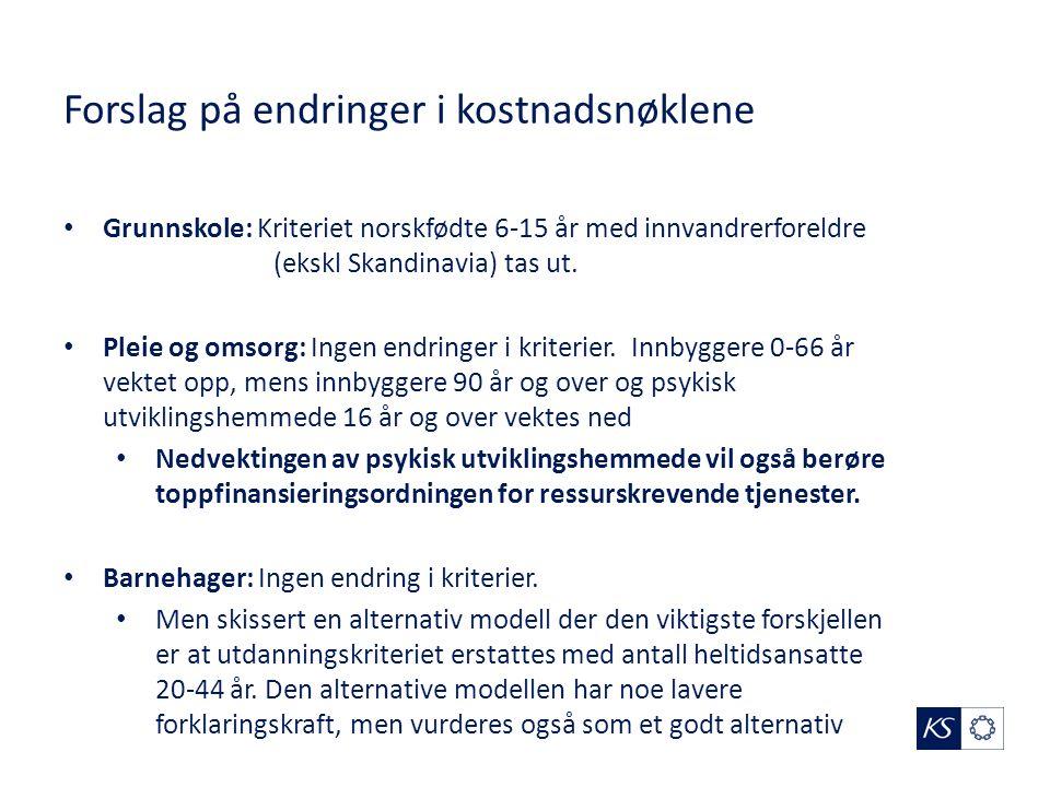 Forslag på endringer i kostnadsnøklene Grunnskole: Kriteriet norskfødte 6-15 år med innvandrerforeldre (ekskl Skandinavia) tas ut.