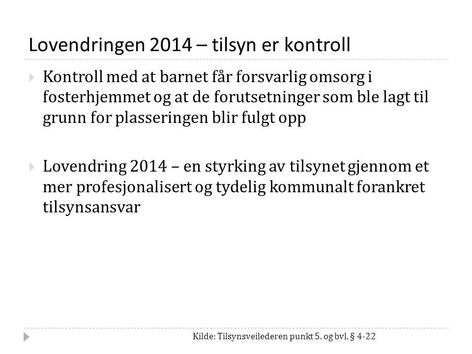 Lovendringen 2014 – tilsyn er kontroll Kilde: Tilsynsveilederen punkt 5.