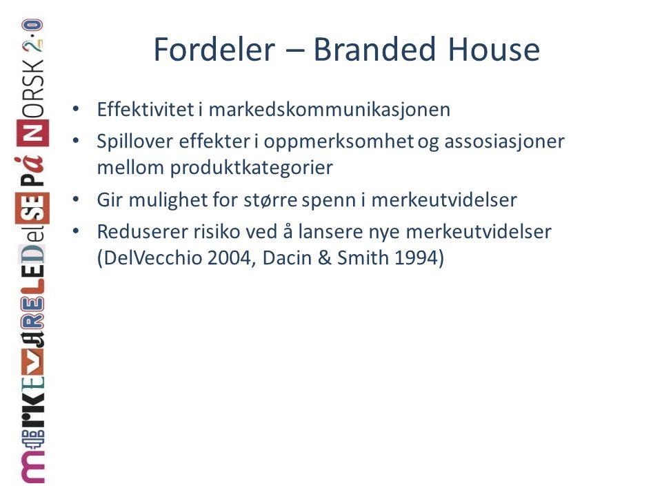 Fordeler – Branded House Effektivitet i markedskommunikasjonen Spillover effekter i oppmerksomhet og assosiasjoner mellom produktkategorier Gir muligh