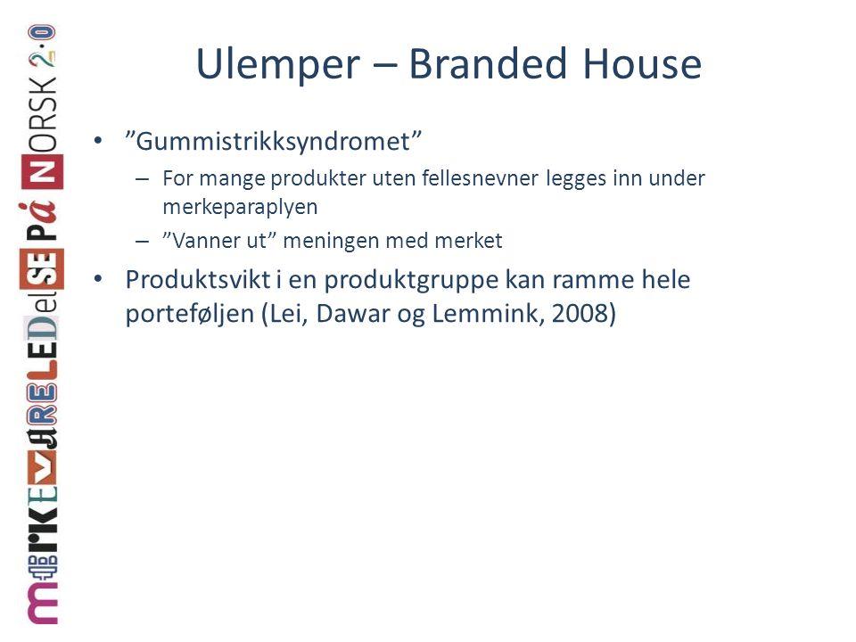 """Ulemper – Branded House """"Gummistrikksyndromet"""" – For mange produkter uten fellesnevner legges inn under merkeparaplyen – """"Vanner ut"""" meningen med merk"""
