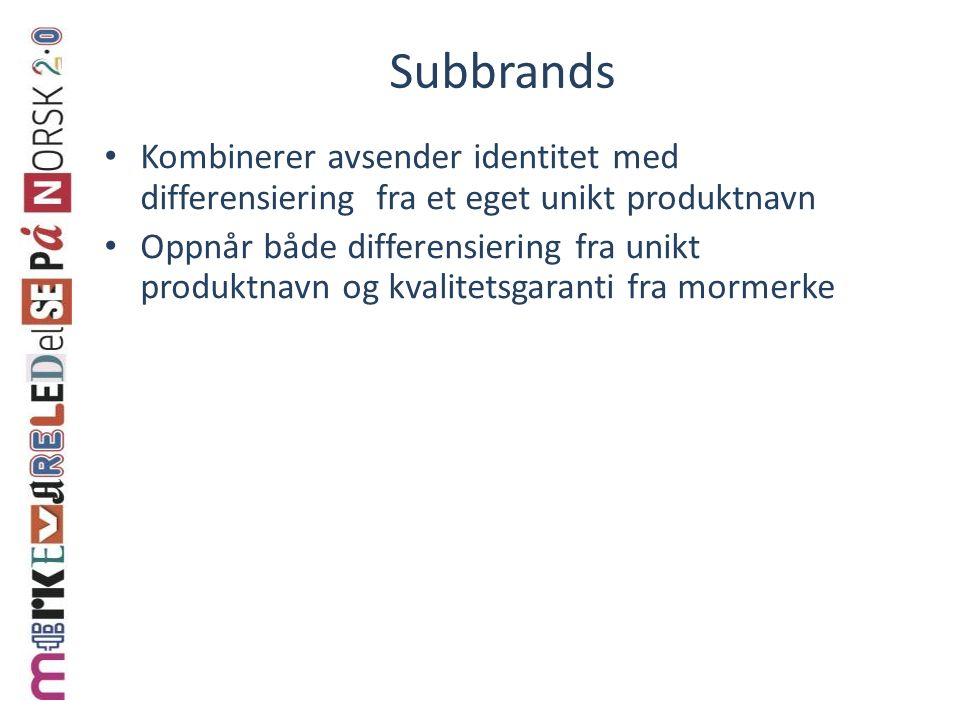 Subbrands Kombinerer avsender identitet med differensiering fra et eget unikt produktnavn Oppnår både differensiering fra unikt produktnavn og kvalite