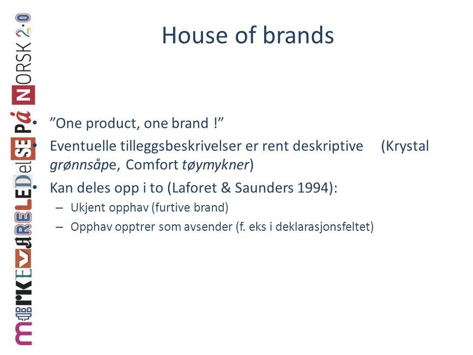 """House of brands """"One product, one brand !"""" Eventuelle tilleggsbeskrivelser er rent deskriptive (Krystal grønnsåpe, Comfort tøymykner) Kan deles opp i"""