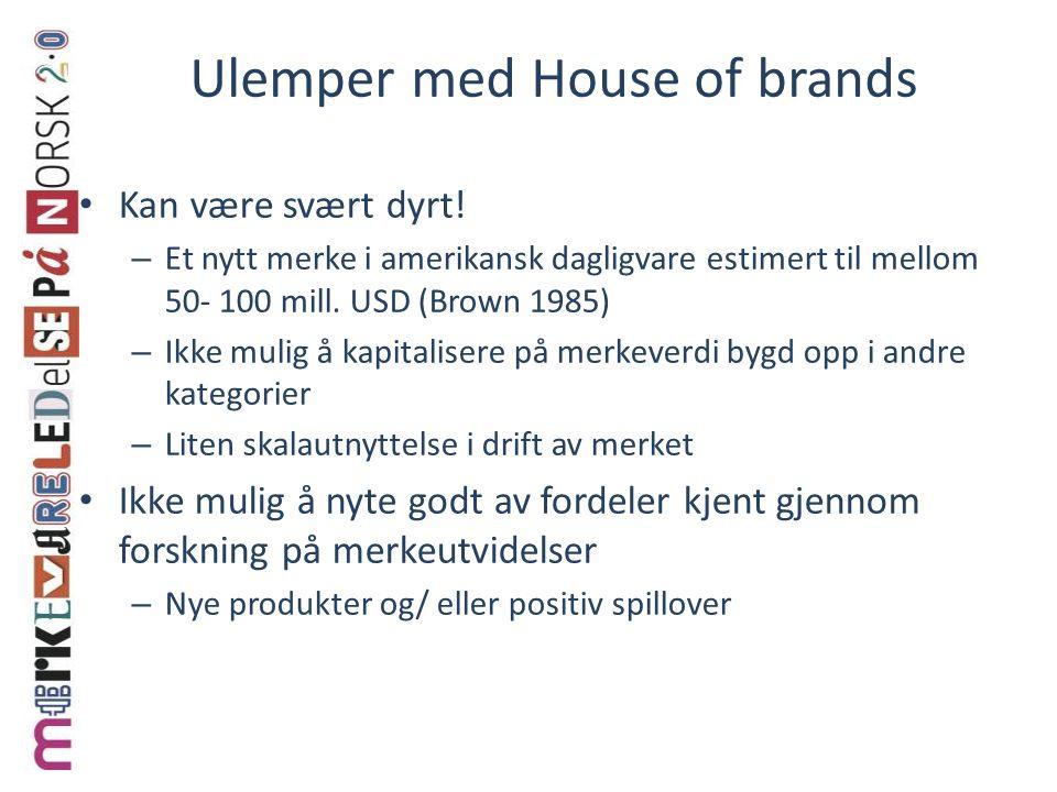 Ulemper med House of brands Kan være svært dyrt! – Et nytt merke i amerikansk dagligvare estimert til mellom 50- 100 mill. USD (Brown 1985) – Ikke mul