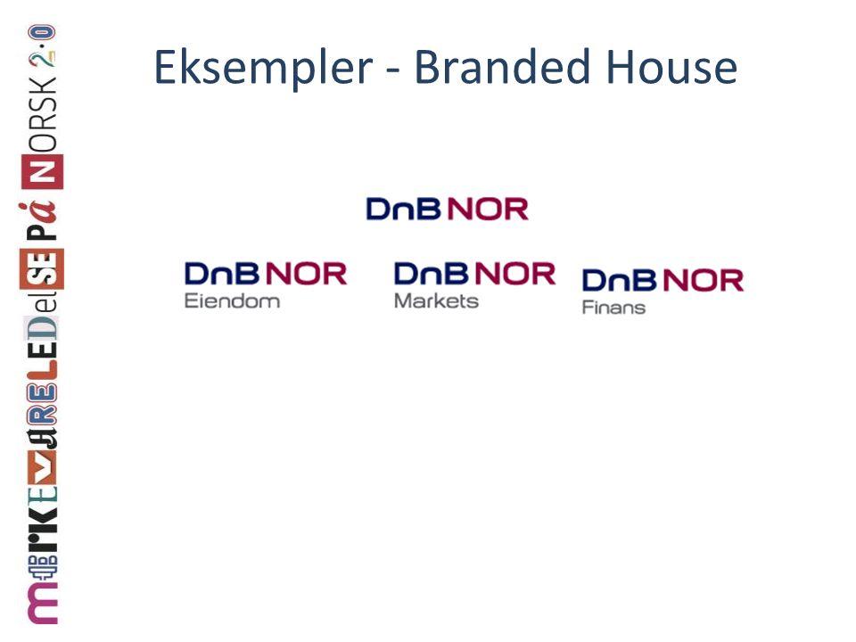 Branded House Et merke på ulike produkter i ulike kategorier Krever distinkte verdier – må gi klarhet til kundene i hva som tilbys Har økt i omfang og status i tråd med økt kunnskap om merkeutvidelser