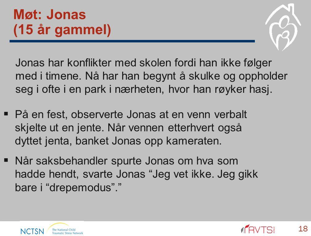 Møt: Jonas (15 år gammel) Jonas har konflikter med skolen fordi han ikke følger med i timene. Nå har han begynt å skulke og oppholder seg i ofte i en