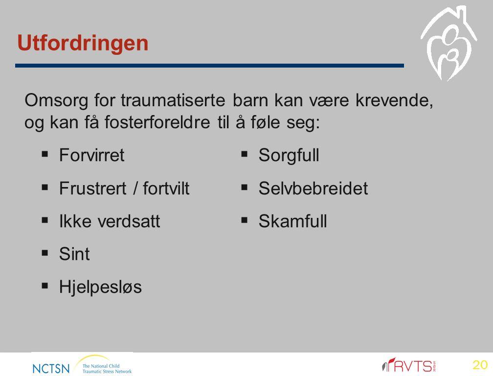 20 Utfordringen  Forvirret  Frustrert / fortvilt  Ikke verdsatt  Sint  Hjelpesløs Omsorg for traumatiserte barn kan være krevende, og kan få fosterforeldre til å føle seg:  Sorgfull  Selvbebreidet  Skamfull