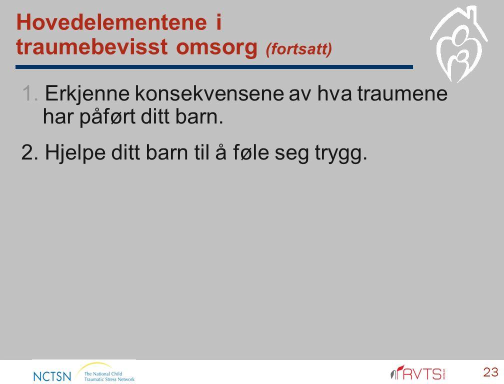 Hovedelementene i traumebevisst omsorg (fortsatt) 1.
