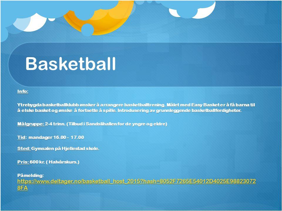 Basketball Info: Ytrebygda basketballklubb ønsker å arrangere basketballtrening.