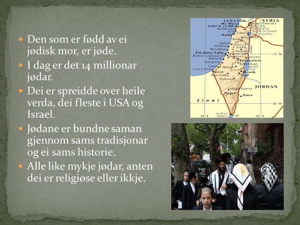 Den som er fødd av ei jødisk mor, er jøde. I dag er det 14 millionar jødar.
