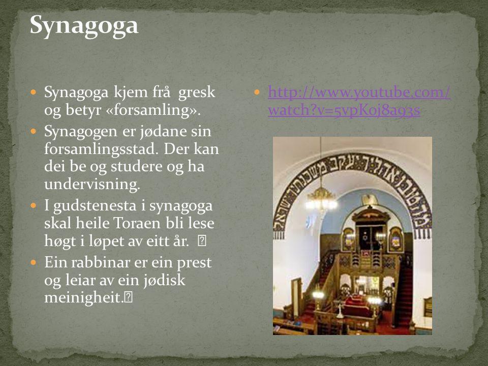 Synagoga kjem frå gresk og betyr «forsamling». Synagogen er jødane sin forsamlingsstad.