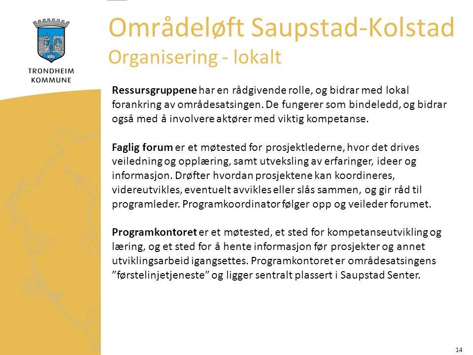 14 Områdeløft Saupstad-Kolstad Organisering - lokalt Ressursgruppene har en rådgivende rolle, og bidrar med lokal forankring av områdesatsingen.