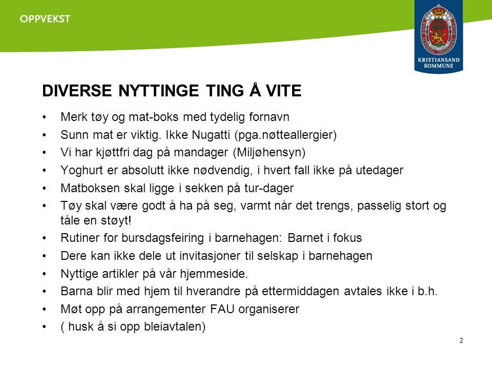 DIVERSE NYTTINGE TING Å VITE 2 Merk tøy og mat-boks med tydelig fornavn Sunn mat er viktig.