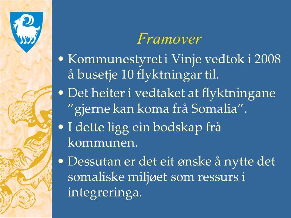 Framover Kommunestyret i Vinje vedtok i 2008 å busetje 10 flyktningar til.