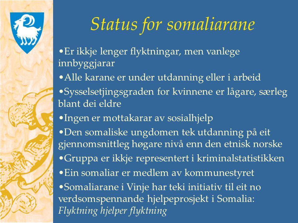 Status for somaliarane Er ikkje lenger flyktningar, men vanlege innbyggjarar Alle karane er under utdanning eller i arbeid Sysselsetjingsgraden for kvinnene er lågare, særleg blant dei eldre Ingen er mottakarar av sosialhjelp Den somaliske ungdomen tek utdanning på eit gjennomsnittleg høgare nivå enn den etnisk norske Gruppa er ikkje representert i kriminalstatistikken Ein somaliar er medlem av kommunestyret Somaliarane i Vinje har teki initiativ til eit no verdsomspennande hjelpeprosjekt i Somalia: Flyktning hjelper flyktning