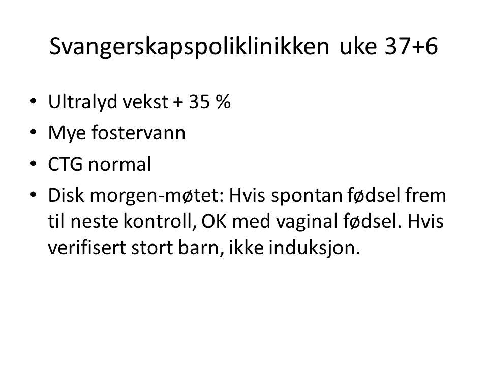Svangerskapspoliklinikken uke 37+6 Ultralyd vekst + 35 % Mye fostervann CTG normal Disk morgen-møtet: Hvis spontan fødsel frem til neste kontroll, OK med vaginal fødsel.
