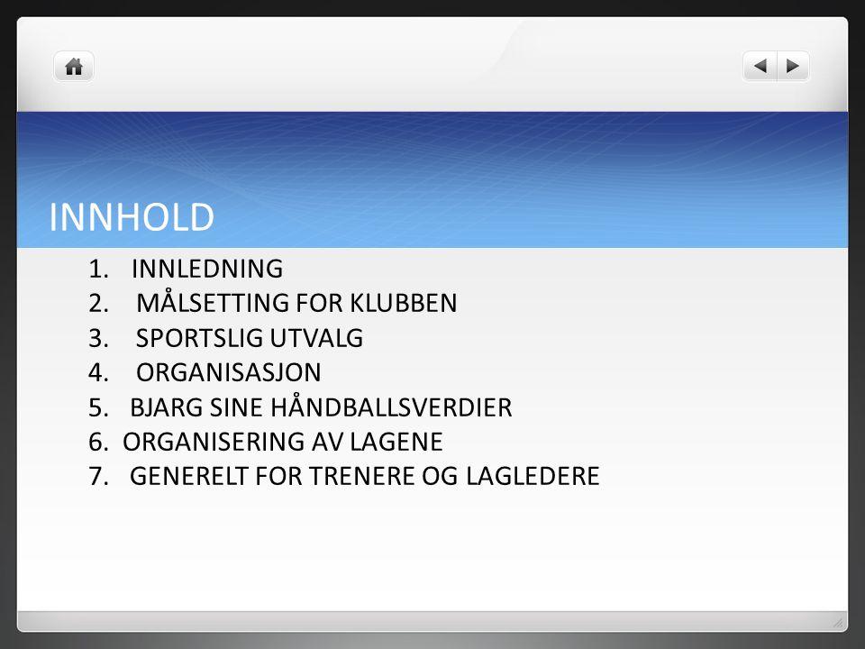 INNHOLD 1. INNLEDNING 2. MÅLSETTING FOR KLUBBEN 3.