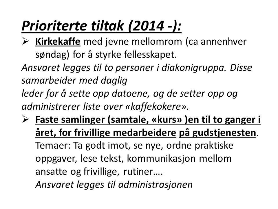 Prioriterte tiltak (2014 -):  Kirkekaffe med jevne mellomrom (ca annenhver søndag) for å styrke fellesskapet.