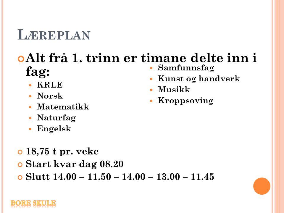 L ÆREPLAN Alt frå 1. trinn er timane delte inn i fag: KRLE Norsk Matematikk Naturfag Engelsk 18,75 t pr. veke Start kvar dag 08.20 Slutt 14.00 – 11.50