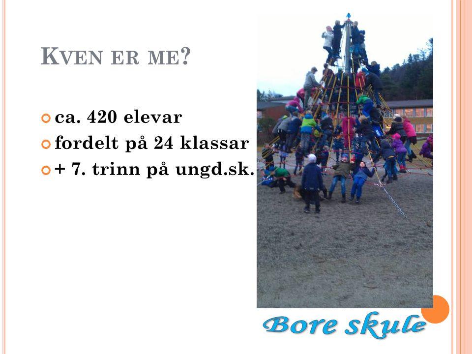 K VEN ER ME ? ca. 420 elevar fordelt på 24 klassar + 7. trinn på ungd.sk.