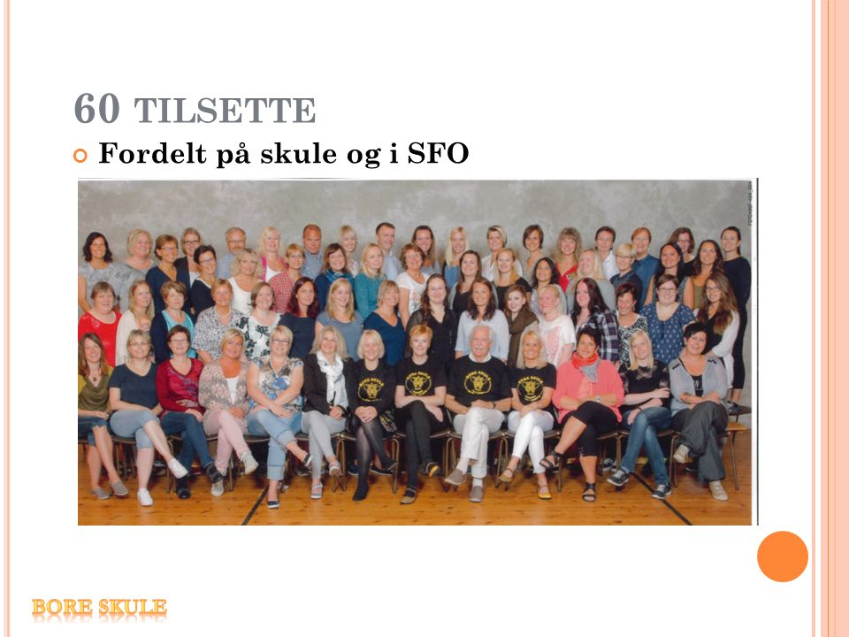60 TILSETTE Fordelt på skule og i SFO