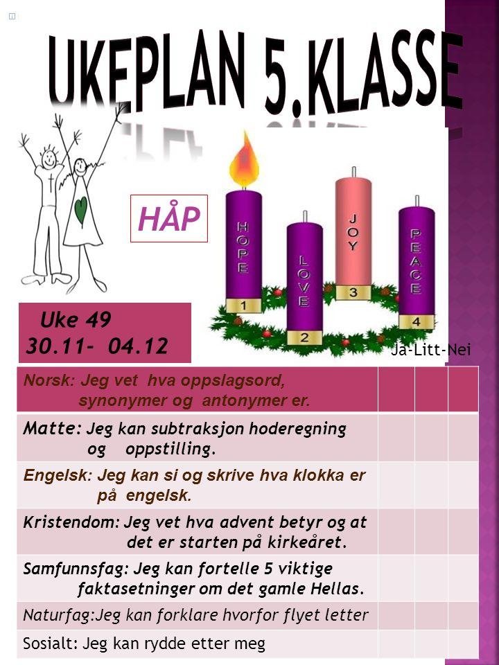 Uke 49 30.11- 04.12 Norsk: Jeg vet hva oppslagsord, synonymer og antonymer er.