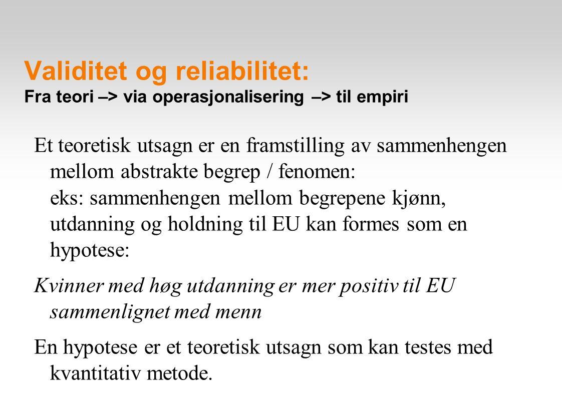 Validitet og reliabilitet: Fra teori –> via operasjonalisering –> til empiri Et teoretisk utsagn er en framstilling av sammenhengen mellom abstrakte begrep / fenomen: eks: sammenhengen mellom begrepene kjønn, utdanning og holdning til EU kan formes som en hypotese: Kvinner med høg utdanning er mer positiv til EU sammenlignet med menn En hypotese er et teoretisk utsagn som kan testes med kvantitativ metode.