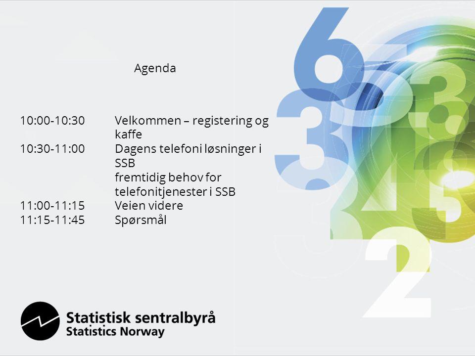 Agenda 10:00-10:30 Velkommen – registering og kaffe 10:30-11:00Dagens telefoni løsninger i SSB fremtidig behov for telefonitjenester i SSB 11:00-11:15Veien videre 11:15-11:45Spørsmål