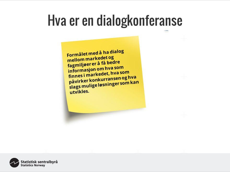 Hva er en dialogkonferanse Adresse er koblingsnøkkel Formålet med å ha dialog mellom markedet og fagmiljøer er å få bedre informasjon om hva som finnes i markedet, hva som påvirker konkurransen og hva slags mulige løsninger som kan utvikles.