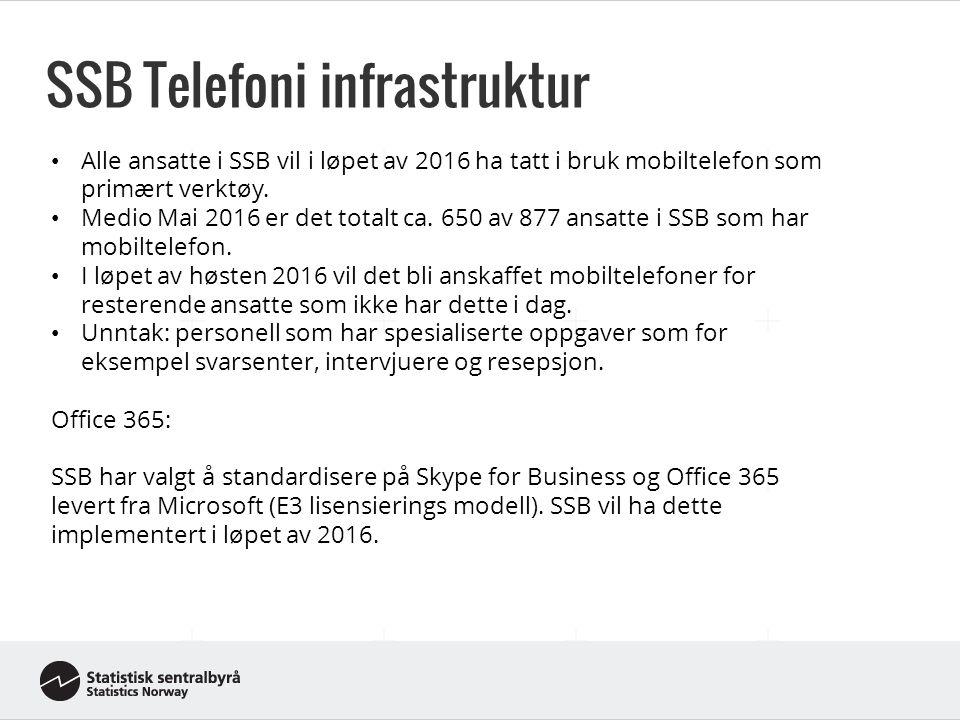 SSB Telefoni infrastruktur - Intervjuere Intervjuere er satt opp med egen mobilløsning basert på IP VPN for de som er lokalisert utenfor SSB sine kontorer.