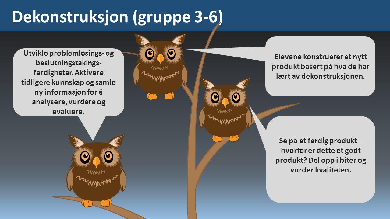 Dekonstruksjon (gruppe 3-6) Utvikle problemløsings- og beslutningstakings- ferdigheter. Aktivere tidligere kunnskap og samle ny informasjon for å anal