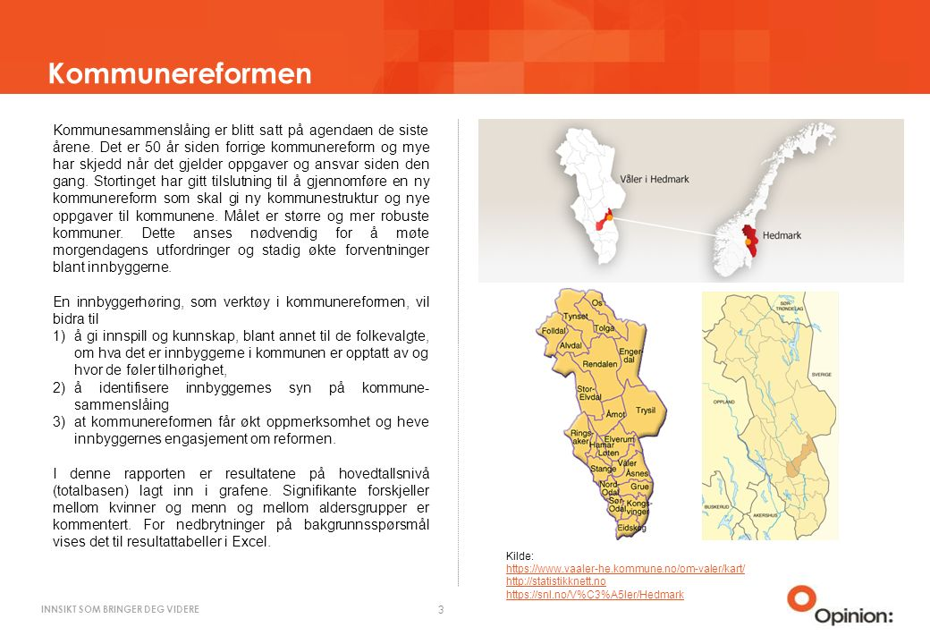 INNSIKT SOM BRINGER DEG VIDERE Kommunereformen 3 Kommunesammenslåing er blitt satt på agendaen de siste årene.